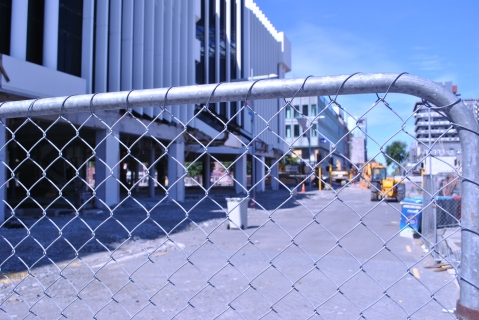 This the CBD of Christchurch, fenced off to the public. It rea;;y is like something from a movie. Photo by the author.