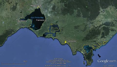 The Dinosaur Dreaming site is approx. 113 km SE of Melbourne and has yielded numerous fossils for the past two decades. Image from Google maps.