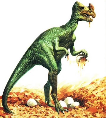 This is the manner in which Oviraptorids used to be portayed, as egg thiefs rather than caring parents. Notice the very out of date posture, lack of feathers and horn instead of a crest. Image from midgetonfire.blogspot.com.